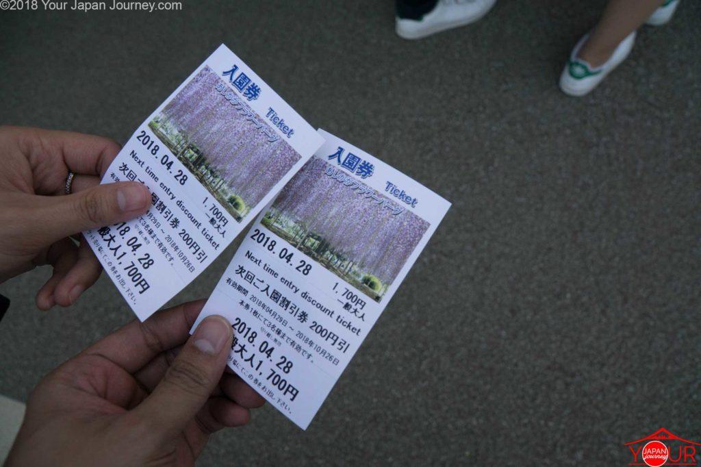 ticket price- ashikaga flower park